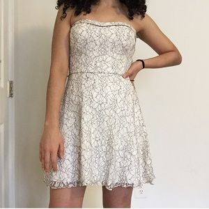 Strapless lace formal dress